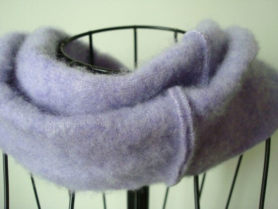 Infinity Scarf LAVENDER Upcycled Cashmere Loop Scarf by WormeWoole