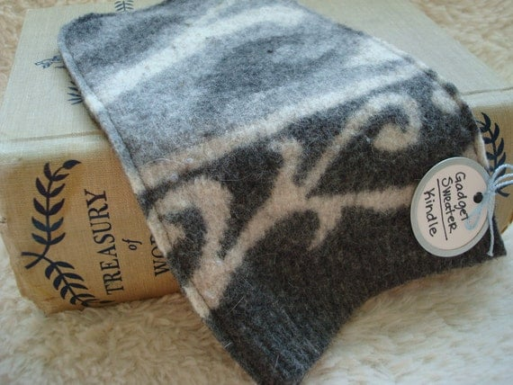 Kindle Sleeve Kindle Case Kindle Cover GRAY & WHITE Felted Wool