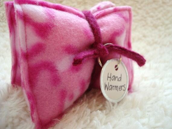 Pocket Hand Warmers PINK LEOPARD Fleece Rice Bags Reusable Eco-Friendly