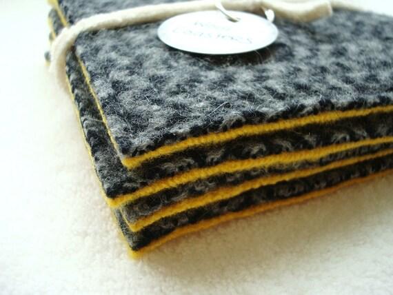 CHEVRON Wool Coasters Recycled Mug Rugs Gray and Yellow Coasters