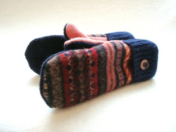 Mittens Felted Sweater Wool CAYENNE Red Blue Cashmere Lined