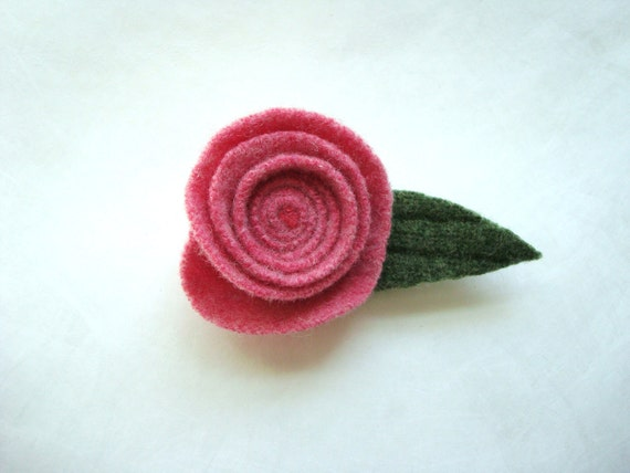 Rose Pin Felted Wool Brooch PINK Upcycled Ecofriendly Romantic