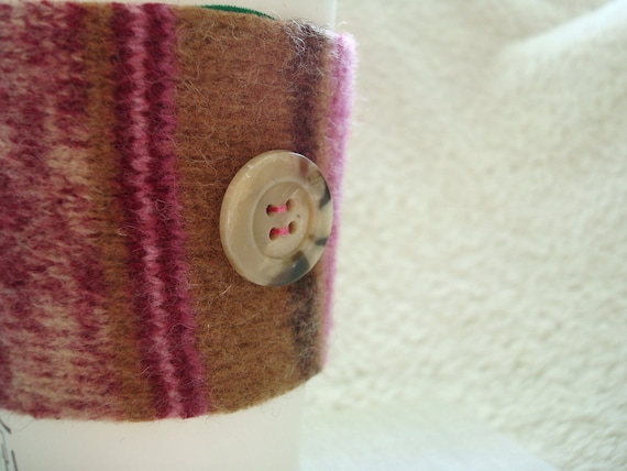 Coffee Sleeve Cozy  PINK BROWN Felted Sweater Wool Cosy Upcycled by WormeWoole