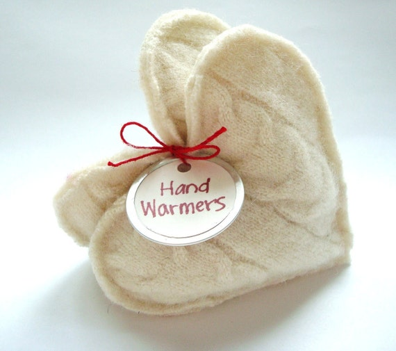 Pocket Hand Warmers VANILLA Hearts Cabled Felted Wool, Eco Gift