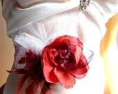 Flower Sash Belt / Ribbon Sash Belt / Bridal / Bridesmaid/ Party/ Ball/ Dancing/ Ceremony/ Feather