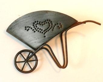 Tin Type Heart Wheel Barrow Flower or Napkin Wall Hanger