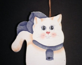 Wooden Cat with Plaque Wall Hanging