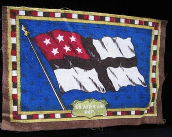 Antique Cigar Box Flag of Republic of South Africa 1900s