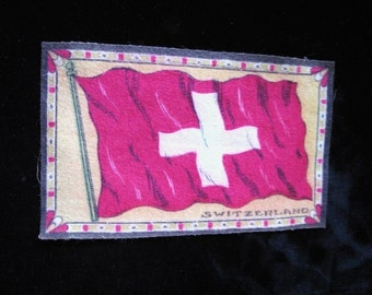 Antique Cigar Box Flag of Switzerland 1900s