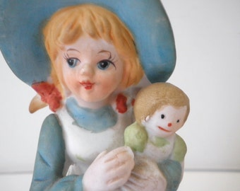 Collectible Girl With Doll Bisque Figurine