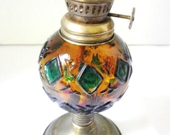 Miniature Amber  Hurricane Lamp with Original Amber Chimney