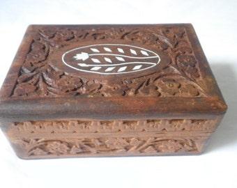 Inlaid Carved Rosewood Trinket Box