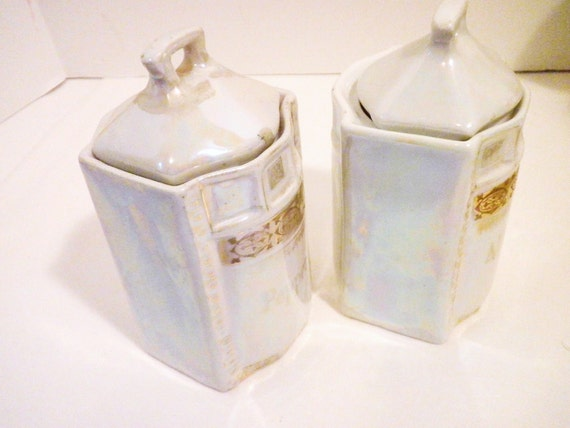 Antique Mother of Pearl Glazed Pepper and All spice Canisters by White and Block Germany