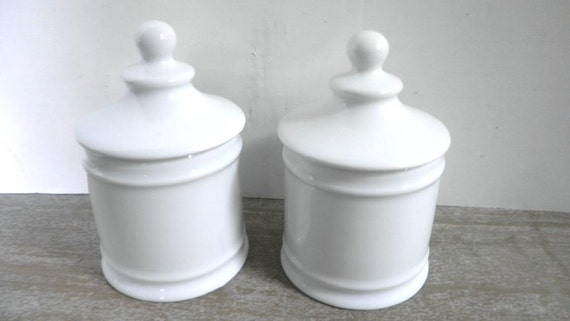 Pair Round White French Limoges Canisters With Lids