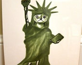 SALE Whimsical Patriotic Art Statue of Liberty USA