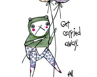 SALE Get Carried Away Original Drawing of Bear Holding Balloons