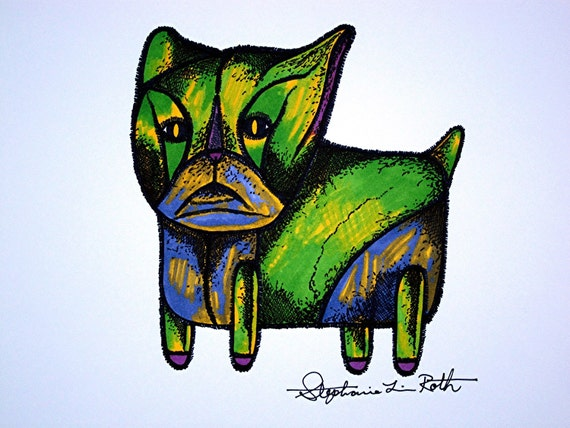 Patchwork Green and Lavender Cat Original Art