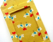 Luggage Tag / ID Case / Gift Card Holder - Love Birds in Mustard Yellow