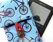 Padded Kindle / Nook Cover with pocket for charger: Blue Bicycles MADE TO ORDER