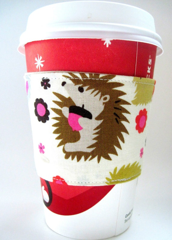 Coffee Cozy Sleeve: Hedgehogs MADE TO ORDER