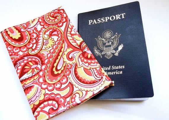 Passport Sleeve / Cover: Pink Paisley