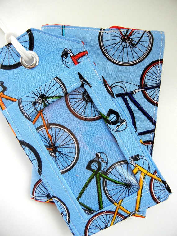 Getaway Travel Set: Luggage Tag & Passport Sleeve in Bicycles MADE TO ORDER