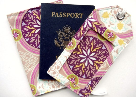 Getaway Travel Set: Luggage Tag & Passport Sleeve in Moroccan Vacation MADE TO ORDER