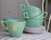 Sun Valley Melmac Cup and Saucer Set with Creamer and Sugar Bowl  SALE