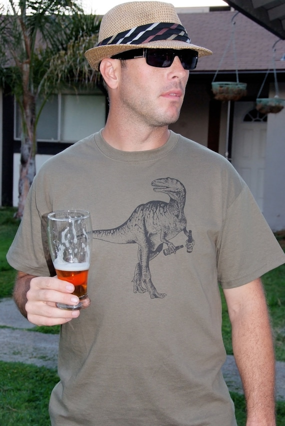 Beer Drinking Dinosaur Graphic Craft Beer Shirt
