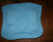 Knitted Dishcloth, with penguin