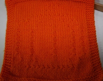 Knitted Dishcloth, with pumpkin design