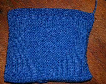 Knitted Dishcloth, with a Heart
