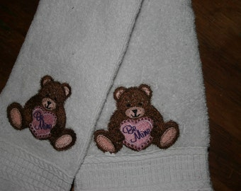 Embroidered Teddy Bear Hand Towel and Wash Cloth