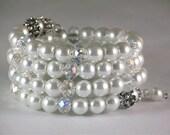 White Pearl Bracelet, Cuff Bracelet, Bangle Bracelet, Beaded Bracelet, Wrap Bracelet, Bridal Jewelry, Wedding Bracelet, Modern, Valentine