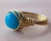 Ocean Blue Jade Ring, Statement Ring, Cocktail Ring, Wire Wrapped Ring, Gemstone Ring, 2014 Trends, Valentine's Day Gift, Modern Jewelry