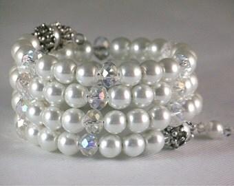 White Pearl Bracelet, Cuff Bracelet, Bangle Bracelet, Beaded Bracelet, Wrap Bracelet, Bridal Jewelry, Wedding Bracelet, Modern, Mother's Day
