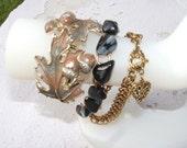 Snowflake Obsidian/Leaf/Acorn/ and Heart Vintage Bracelets Boho Forest Urban