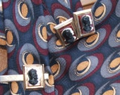 MidCentury Roman Cameo Cuff Links & Tie Tack with Louis Roth Tie