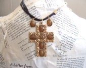Cross Vintage Necklace with Earrings boho shabby urban