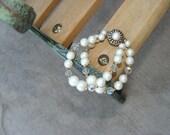 Aurora Borealis and Faux Pearl Vintage Bracelet
