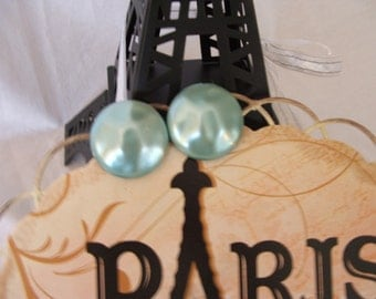 Fabulous Vintage Blue Clip on Earrings Paris Chic Festival