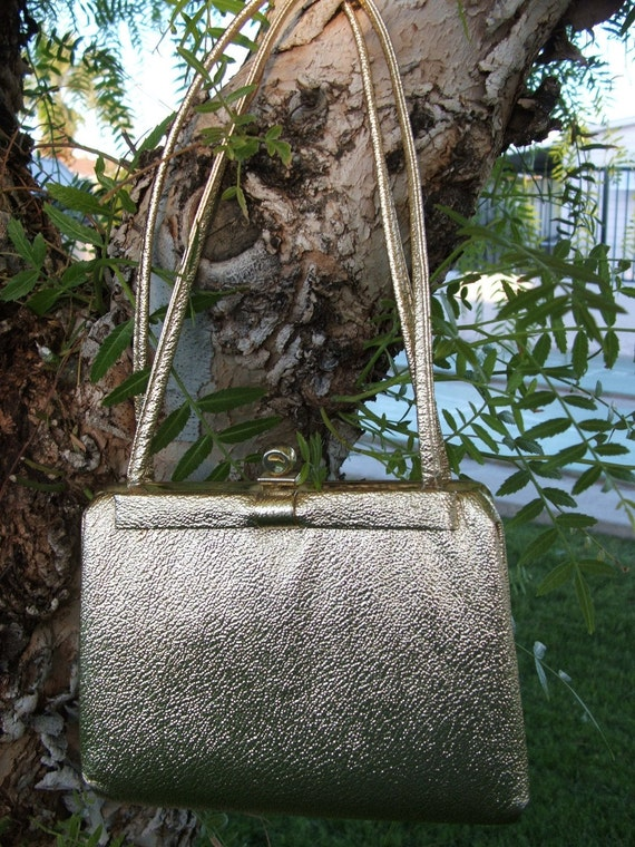 On Sale Today 7 Dollars      Little Gold Vintage Cocktail Purse