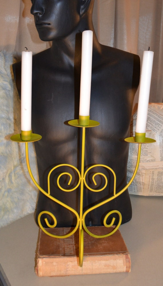 Candelabra Vintage Yellow Upcycled