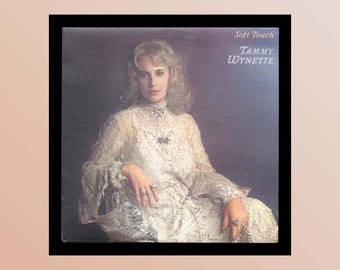Tammy Wynette - Soft Touch - Vintage Vinyl Record Album, 1982 Country LP - Tammy in a Beautiful Lace Dress