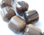 Large Barrel Resin Brown Beads - 8 pcs