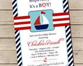 PRINTABLE - Sailboat Baby Shower Invitation -  Digital