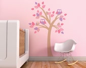 Baby Nursery Wall Decal Kids Wall Decal Stickers Pink Violet Owl Wall Decal. Tree with Owls Wall Decal by Trendy Peas