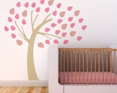 Nursery Wall Decal, Nursery Tree Wall Decal, Wall Decal for Baby Room, Pink and White Tree Wall Decal. Windy Tree Children Wall Decal