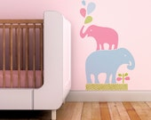 Kids Wall Decal. Stacked Elephants Children Wall Decal