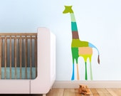 Kids Wall Decal, Large Green Aqua Giraffe for Children's Room and Baby Nursery. Giraffe Puzzle Children Wall Decal